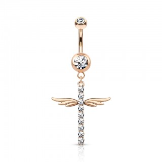 Belly bar with dangling cross with wings and crystals