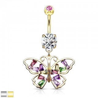 Coloured belly bar with dangling butterfly with coloured crystals