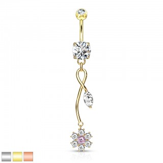 Dangling pink crystal flower with leaf belly bar