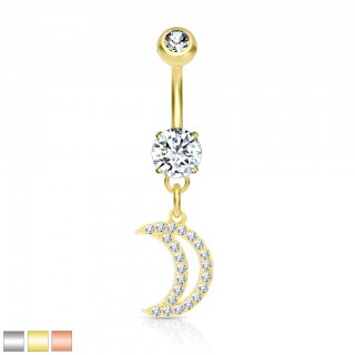 Belly bar with dangling crystal paved crescent moon