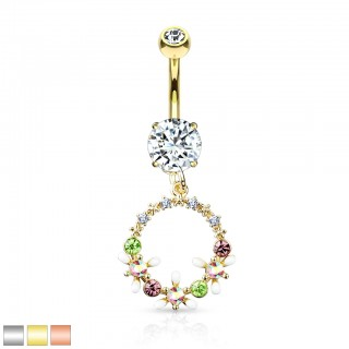 Belly bar with dangling circle of coloured flowers