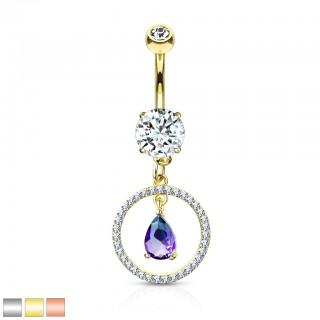 Belly bar with dangling circle and green/blue pear crystal