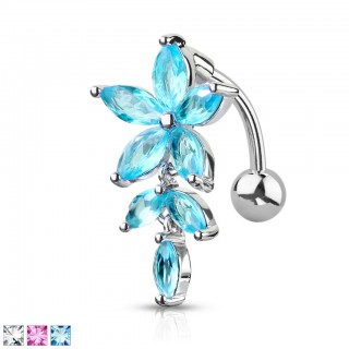 Reversed belly bar with coloured crystal flowered dangle