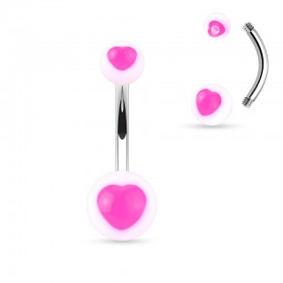 Belly bar with coloured transparent heart