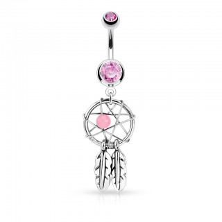 Belly button piercing with coloured crystalised dream catcher