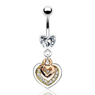 Hearts belly bar with coloured dangle