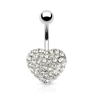 Belly button piercing with diamond heart