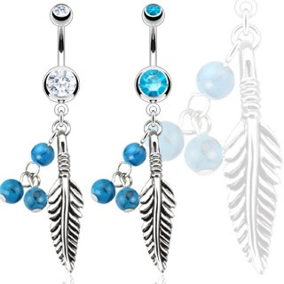 Belly bar with turquoise beads and feather