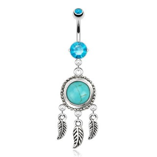 Belly ring with turquoise stone and three feathers