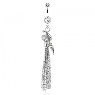 Belly bar with swirl around cone with chains