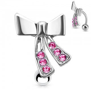 Reverse belly ring with crystals on ribbon