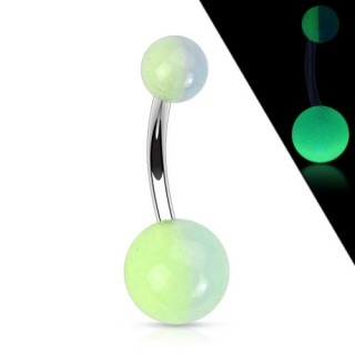 Belly ring with dual tone glow-in-the-dark beads