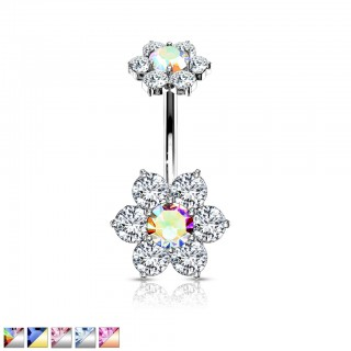 Coloured internally threaded belly bar with coloured crystal flower