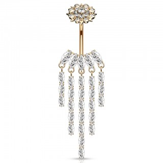 Internally threaded belly bar with crystal chandelier