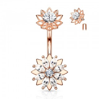 Internally threaded belly bar with marquise crystal layered flower