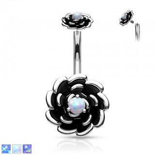 Belly bar with internally screwed opal stone flowers