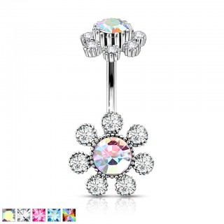 Internally threaded belly bar with coloured central crystal flower