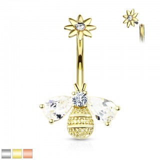Coloured belly button bar with crystal bee bottom