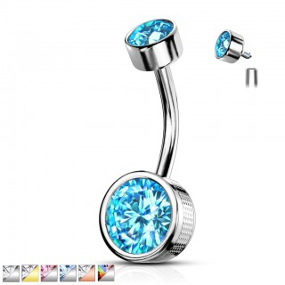 Internally threaded belly bar with patterned bezel set round crystal