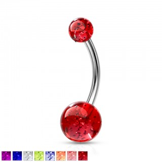 Belly button piercing with coloured glitter balls