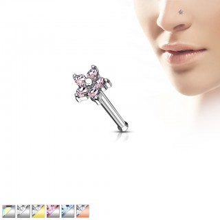 Coloured nose ring with crystals in crescent top