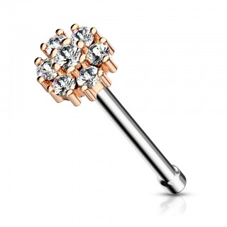 Double tiered jeweled floral nose bone