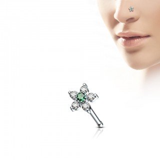 Nose bone with flower and coloured crystals