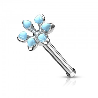 Enameled flower top 316L surgical steel nose bone