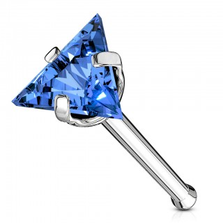 Coloured nose bone with coloured triangle crystal