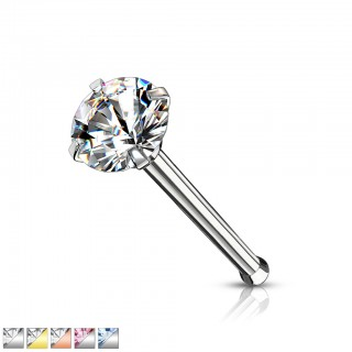 Surgical steel nose bone with coloured prong set crystal