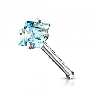 Nose bone with coloured prong set square crystal