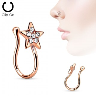 Clip on nose hoop with coloured star and diamonds