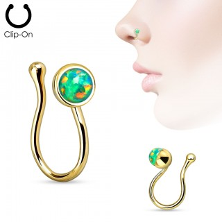 Gold clip on nose piercing with opal crystal