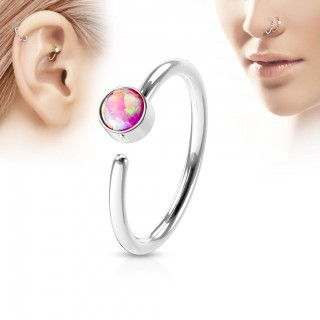 Piercing hoop with opal gem and colour options