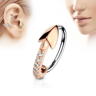 Piercing ring with coloured arrow paved with jewels