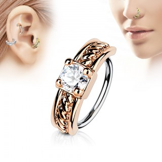 Piercing ring with rope pattern and clear crystal