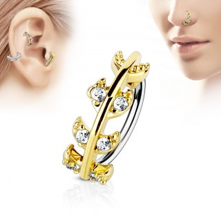 Piercing ring with vine top and clear gems