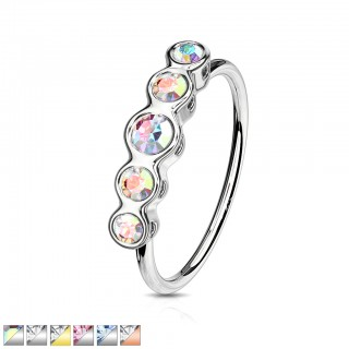 Row of five crystalised gems topped bendable nose ring