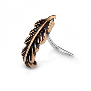 L-shaped vintage feather decorated nose piercing