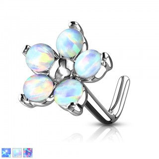 Nose stud with flower of coloured opal stones