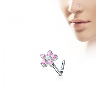 Nose stud with coloured flower jewel