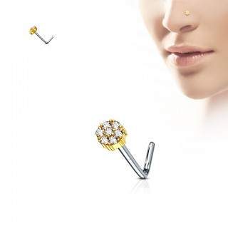 L-bend nose piercing with 7 coloured jewels