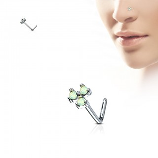 L-bend nose piercing with trio of coloured opal gems