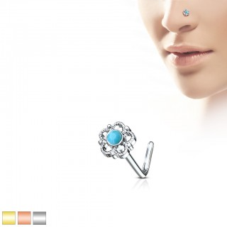 Nose stud with flower filigree and turquoise stone