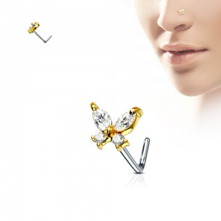 L-bend nose piercing with coloured jeweled butterfly
