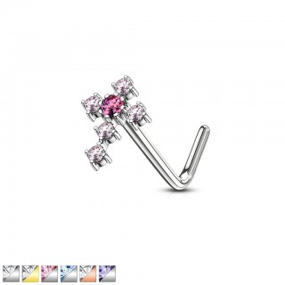 Crystalised cross topped surgical steel nose stud piercing