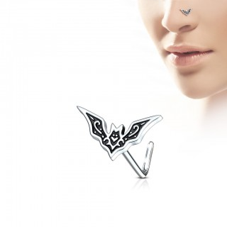 Nose stud with L-bend and bat on top