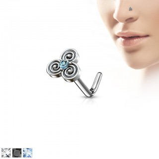 Nose stud with top of swirls and coloured crystal