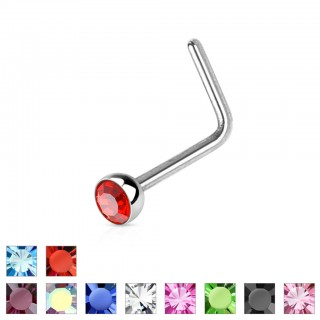 Nose piercing with coloured diamond