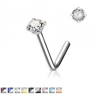 Steel nose stud with round coloured crystal
